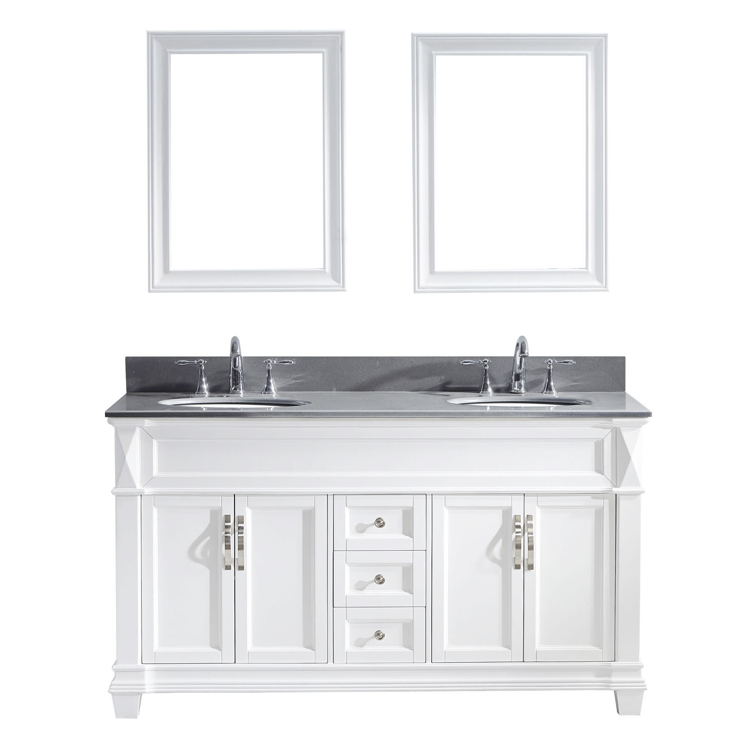Virtu MD-2660-GQRO-WH-002 Victoria 60 Inch Double Bathroom Vanity Set In White