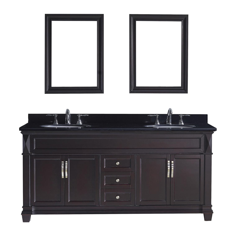 Virtu MD-2672-BGRO-ES Victoria 72 Inch Double Bathroom Vanity Set In Espresso