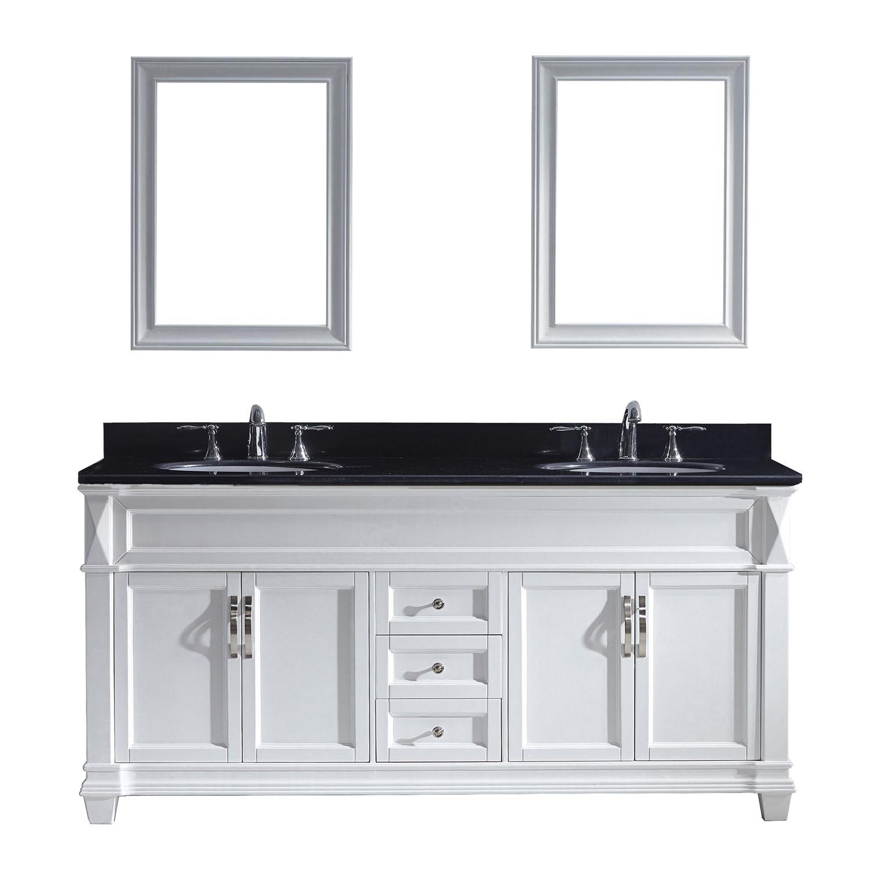 Virtu MD-2672-BGRO-WH-001 Victoria 72 Inch Double Bathroom Vanity Set In White