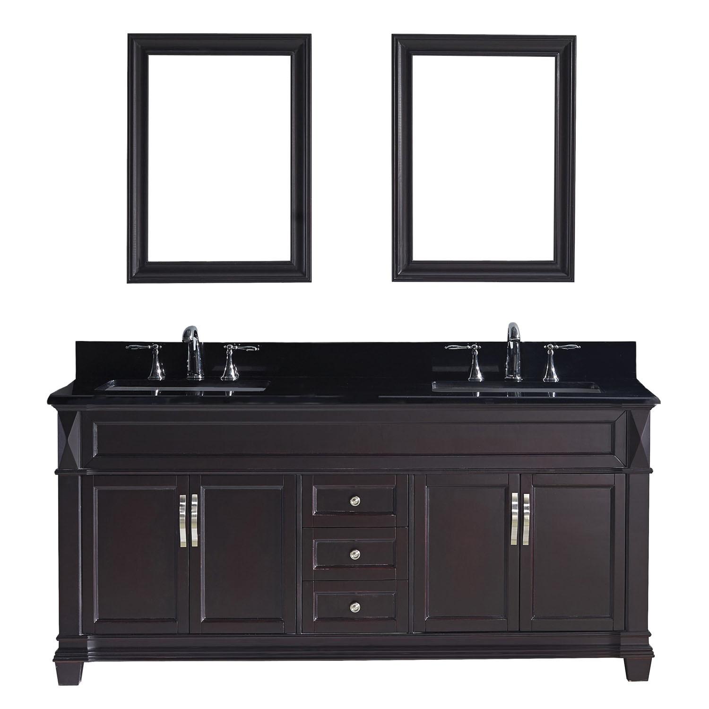 Virtu MD-2672-BGSQ-ES-002 Victoria 72 Inch Double Bathroom Vanity Set In Espresso