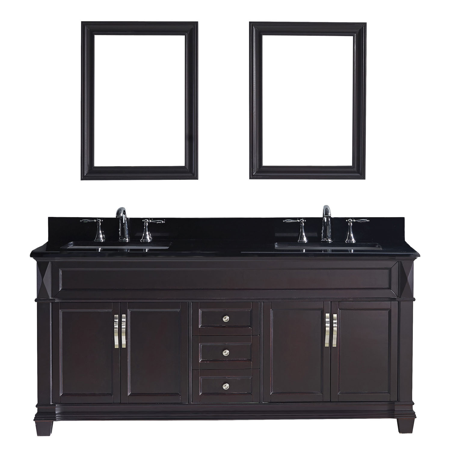 Virtu MD-2672-BGSQ-ES Victoria 72 Inch Double Bathroom Vanity Set In Espresso