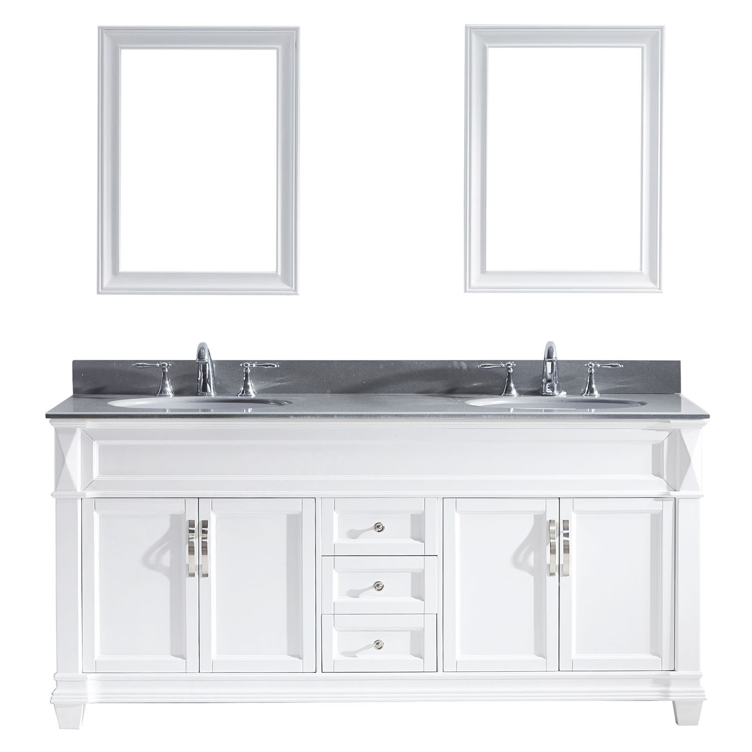 Virtu MD-2672-GQRO-WH Victoria 72 Inch Double Bathroom Vanity Set In White