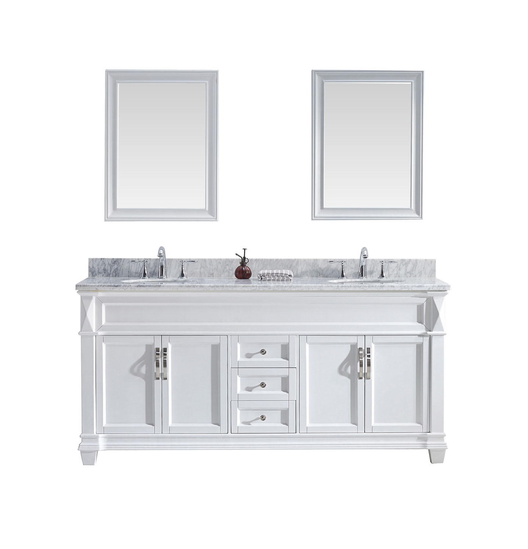 Virtu MD-2672-WMRO-WH-001 Victoria 72 Inch Double Bathroom Vanity Set In White