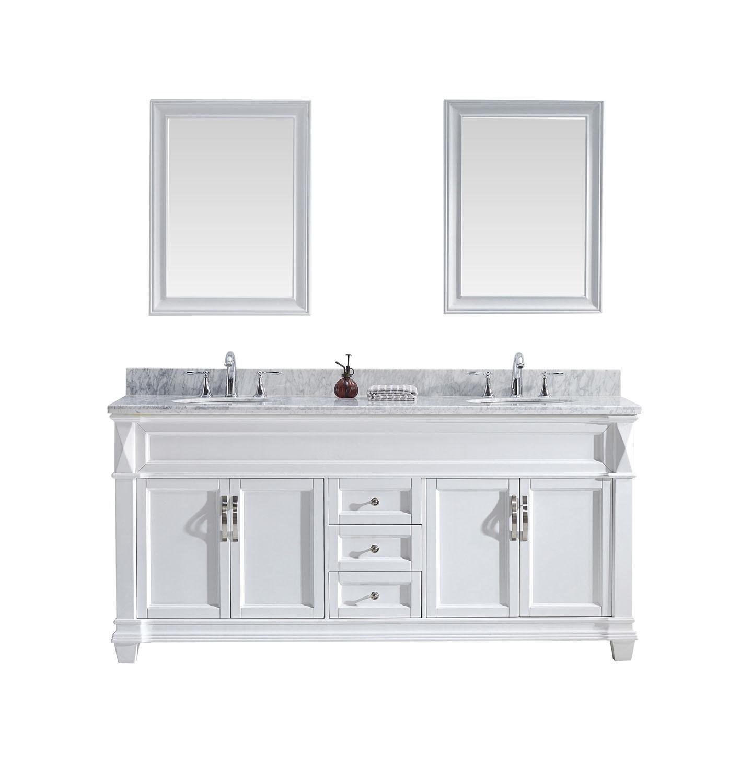 Virtu MD-2672-WMRO-WH-002 Victoria 72 Inch Double Bathroom Vanity Set In White