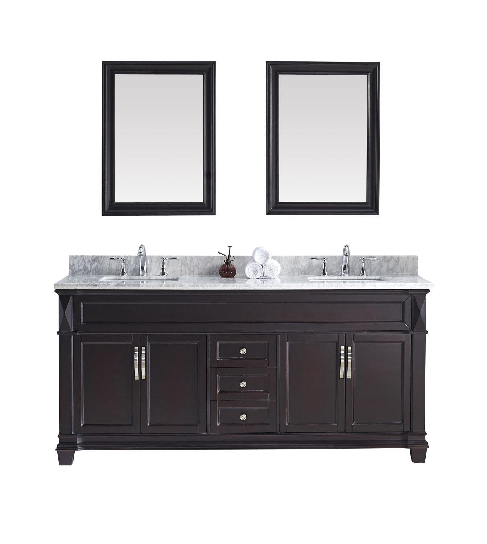 Virtu MD-2672-WMSQ-ES-001 Victoria 72 Inch Double Bathroom Vanity Set In Espresso