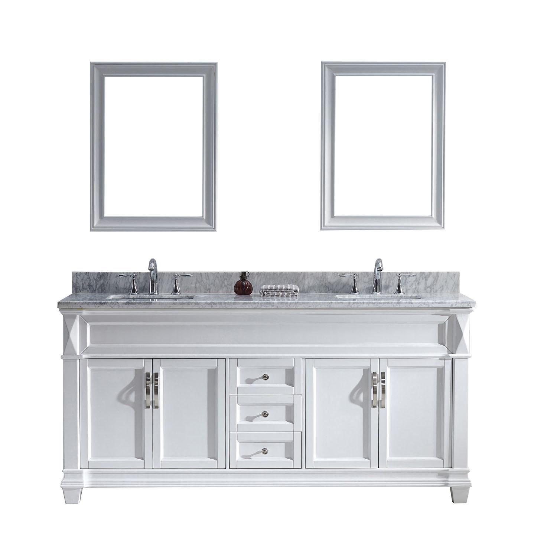 Virtu MD-2672-WMSQ-WH-002 Victoria 72 Inch Double Bathroom Vanity Set In White