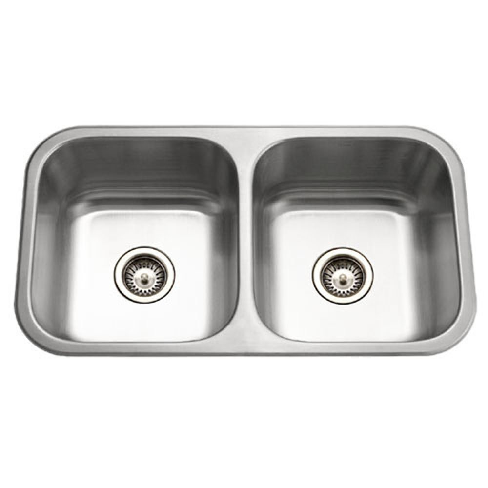 Houzer MD-3109-1 Medallion Classic Series Undermount Stainless Steel 50/50 Double Bowl Kitchen Sink