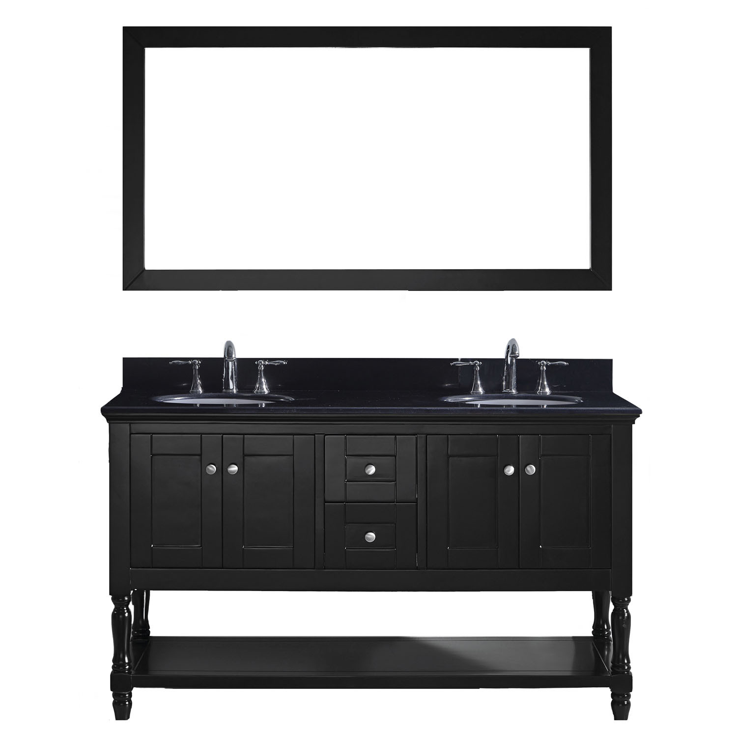 Virtu MD-3160-BGRO-ES-002 Julianna 60 Inch Double Bathroom Vanity Set In Espresso