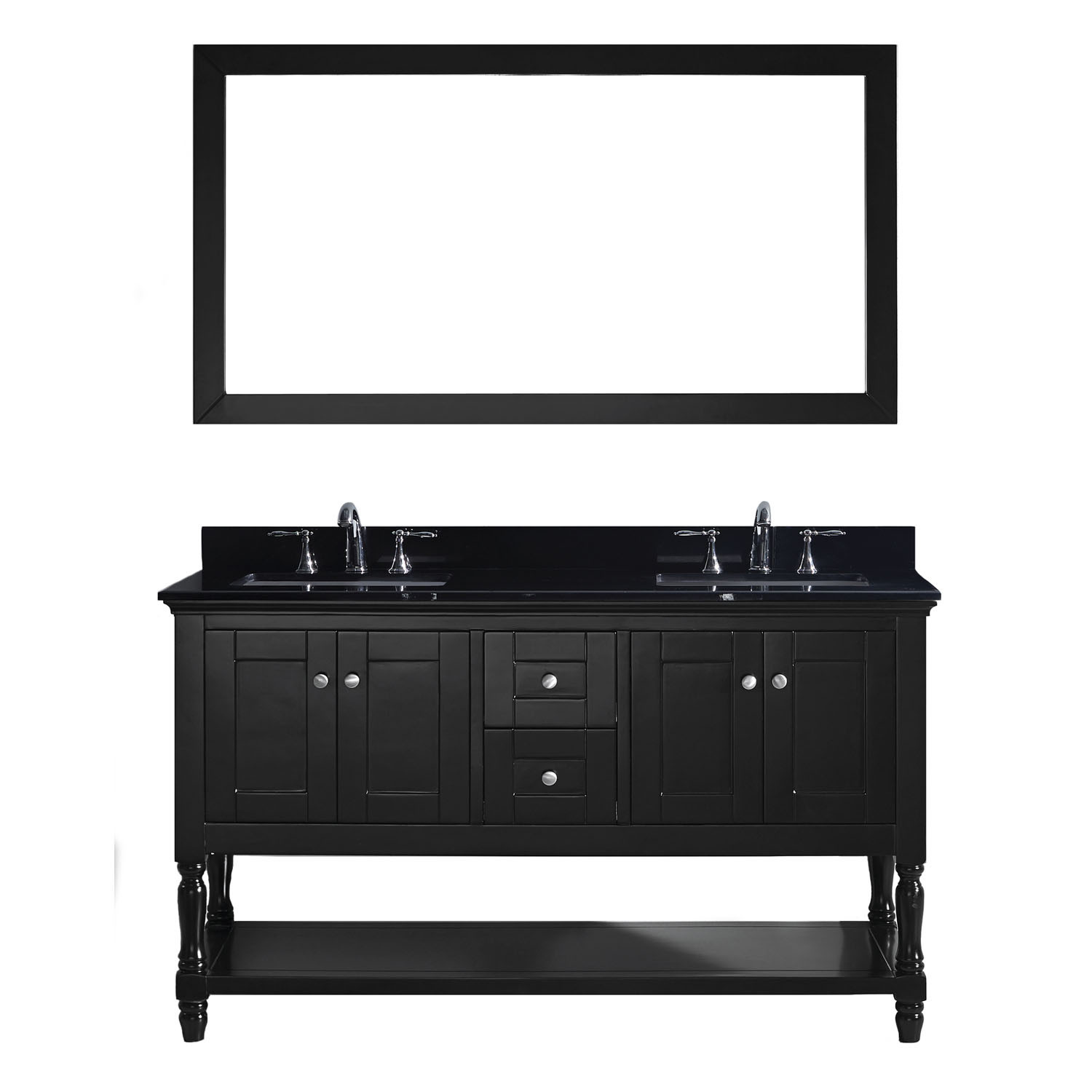 Virtu MD-3160-BGSQ-ES Julianna 60 Inch Double Bathroom Vanity Set In Espresso