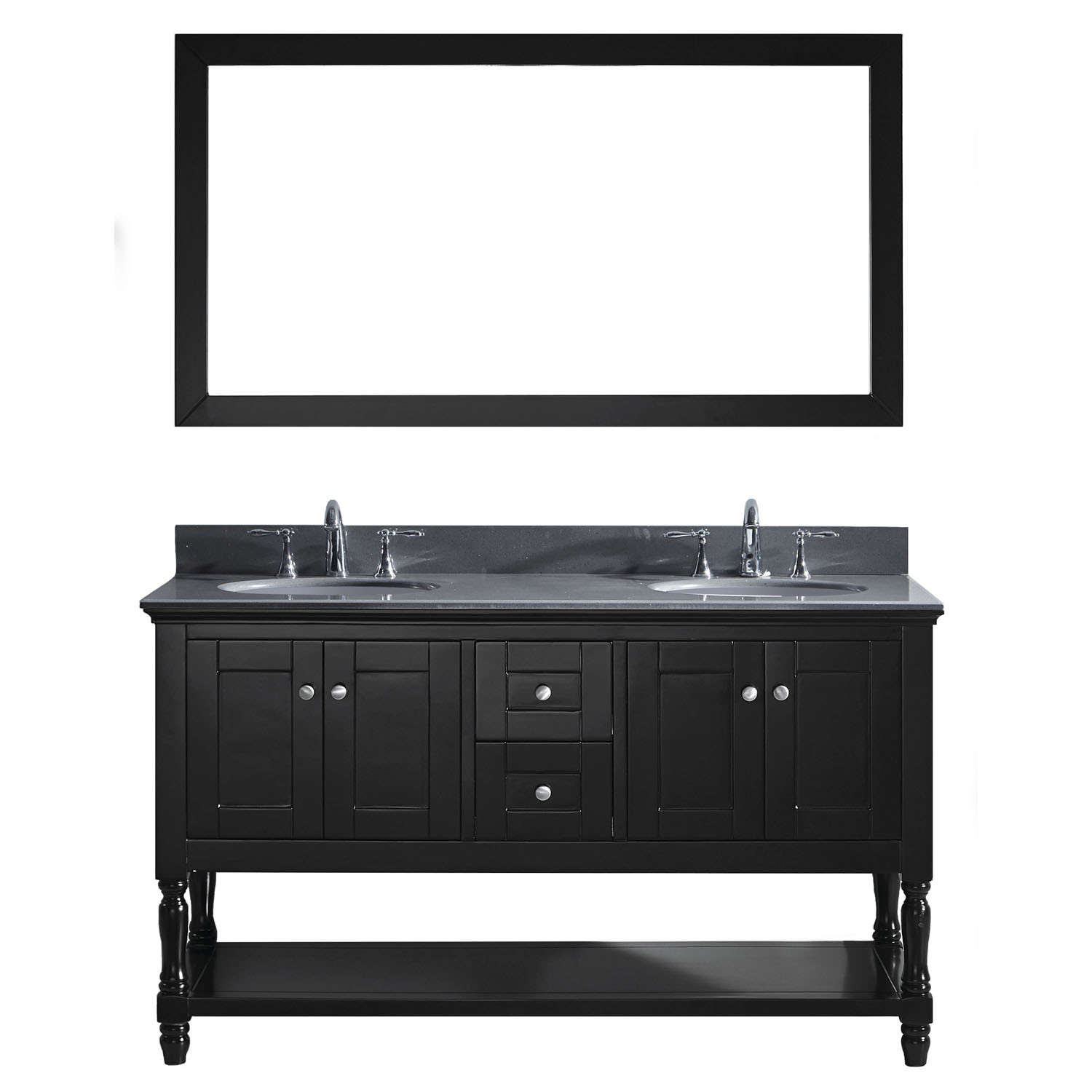 Virtu MD-3160-GQRO-ES-001 Julianna 60 Inch Double Bathroom Vanity Set In Espresso