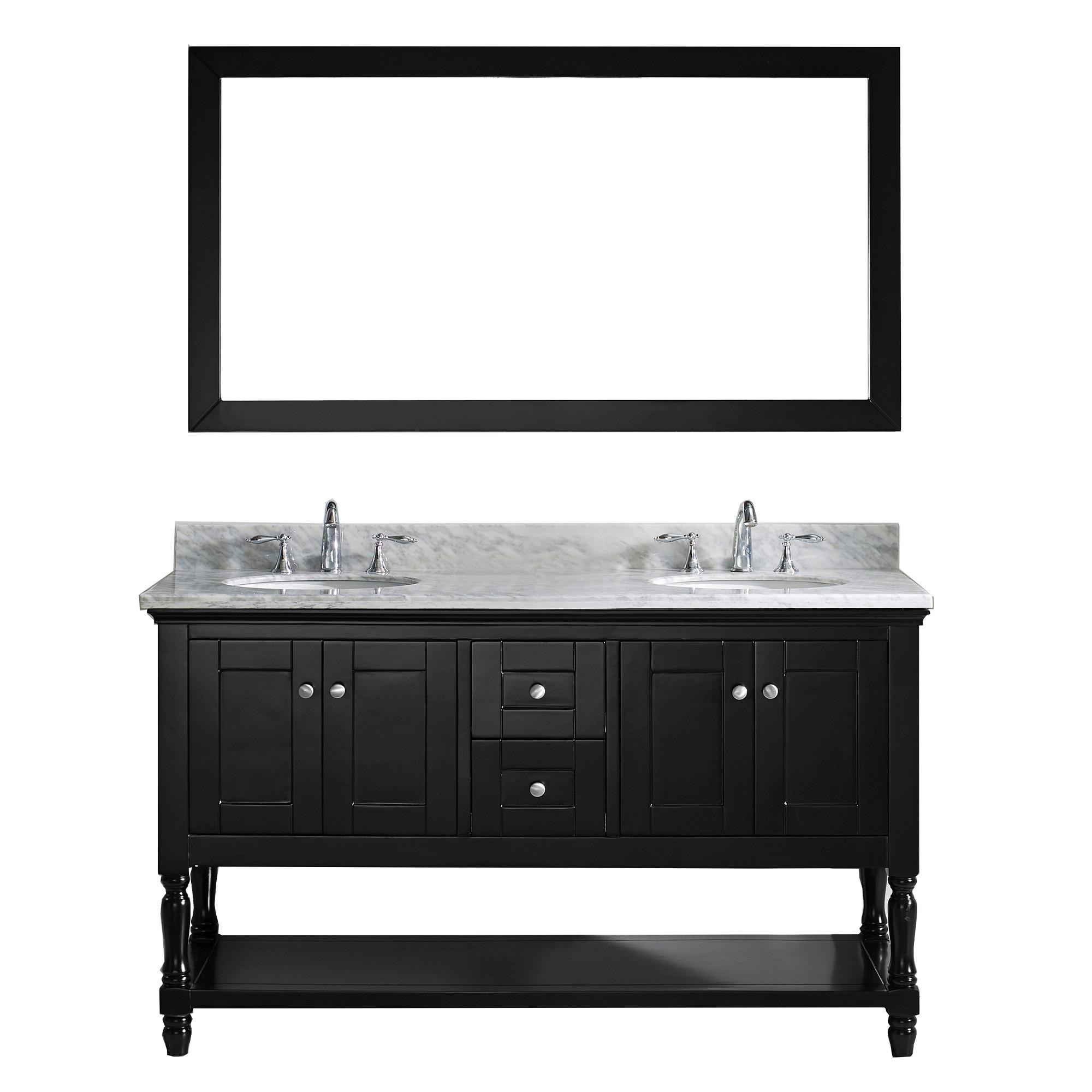 "Virtu MD-3160-WMRO Julianna Espresso 60"" Double Bath Vanity Cabinet Set"