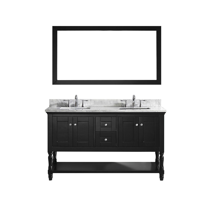 Virtu MD-3160-WMSQ-ES-002 Julianna 60 Inch Double Bathroom Vanity Set In Espresso