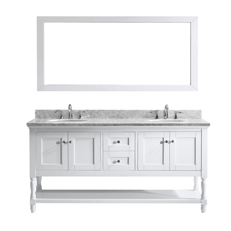 Virtu MD-3172-WMRO-WH-001 Julianna 72 Inch Double Bathroom Vanity Set In White