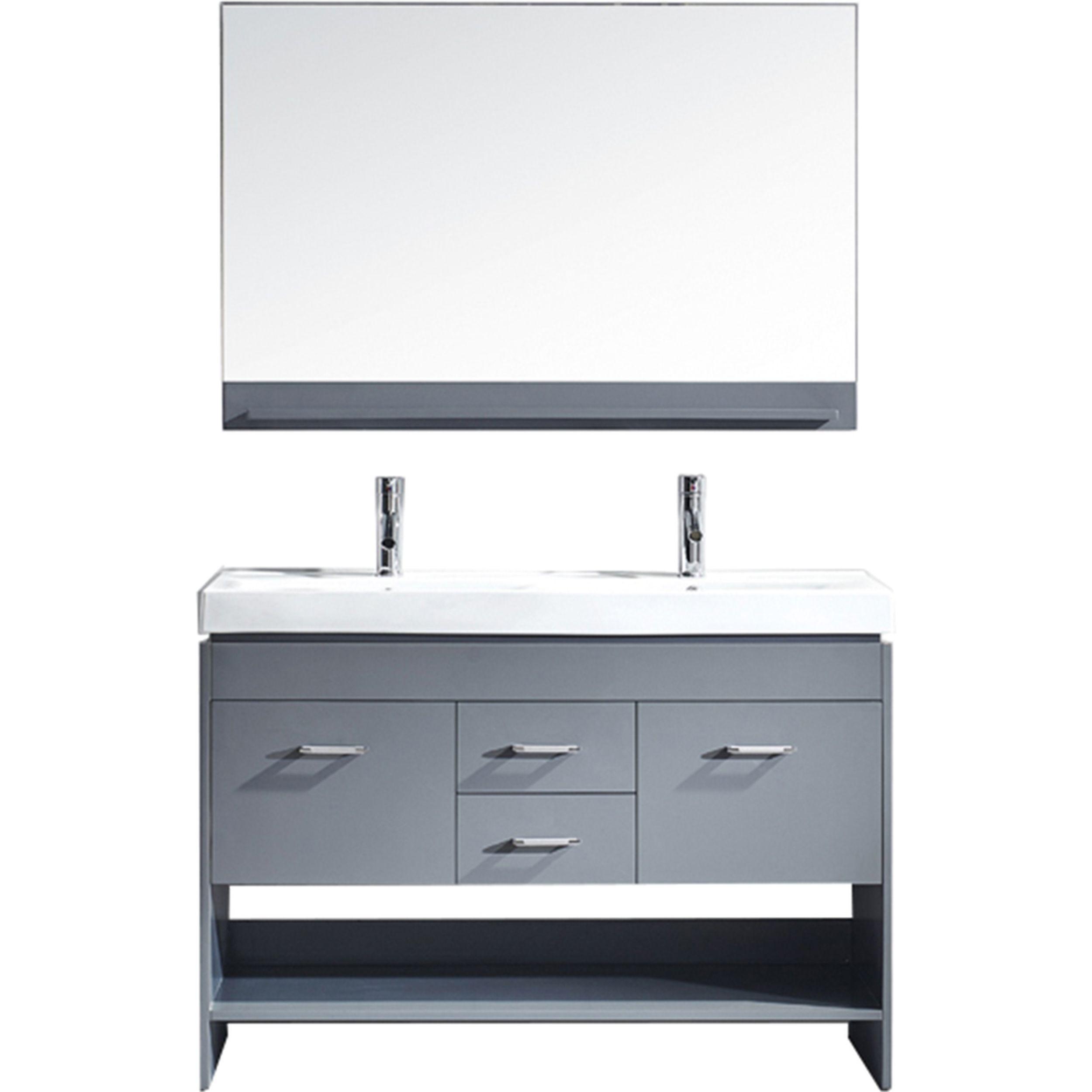 Virtu MD-423-C-GR Gloria 48 Inch Double Bathroom Vanity Set In Grey