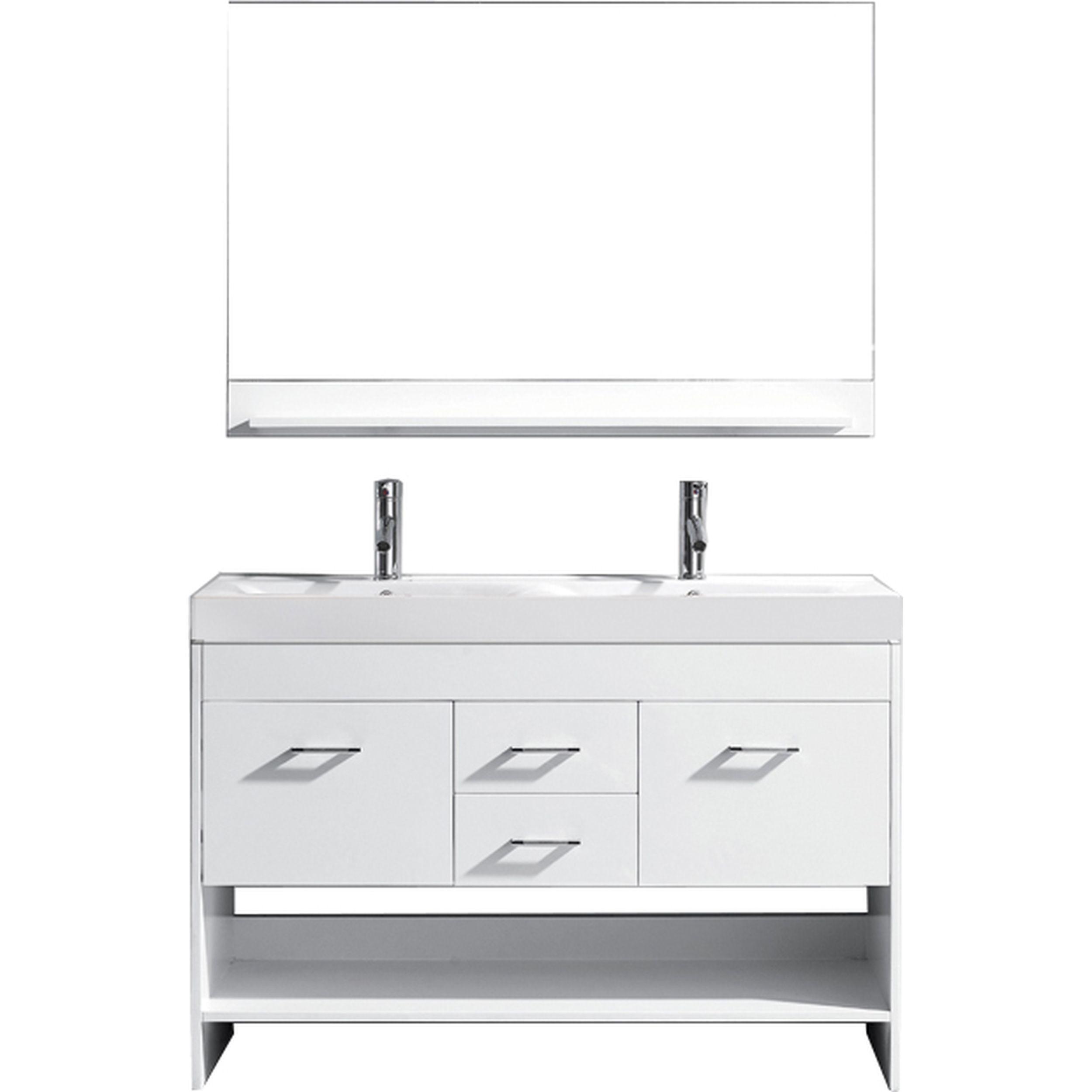 Virtu MD-423-C-WH-001 Gloria 48 Inch Double Bathroom Vanity Set In White