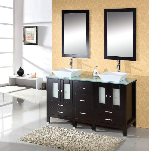 "Virtu USA MD-4305-G-ES 60"" Bradford Double Sink Bathroom Vanity - Tempered Glass"