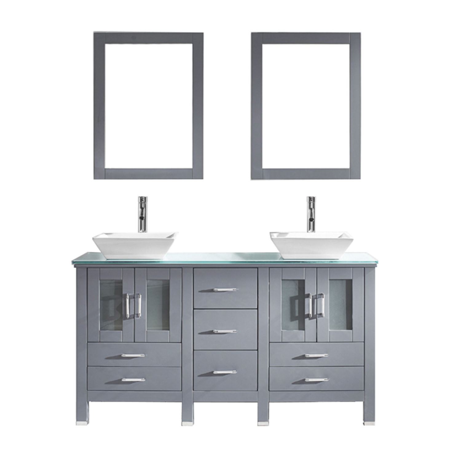 Virtu MD-4305-G-GR-001 Bradford 60 Inch Double Bathroom Vanity Set In Grey With Tempered Glass Top