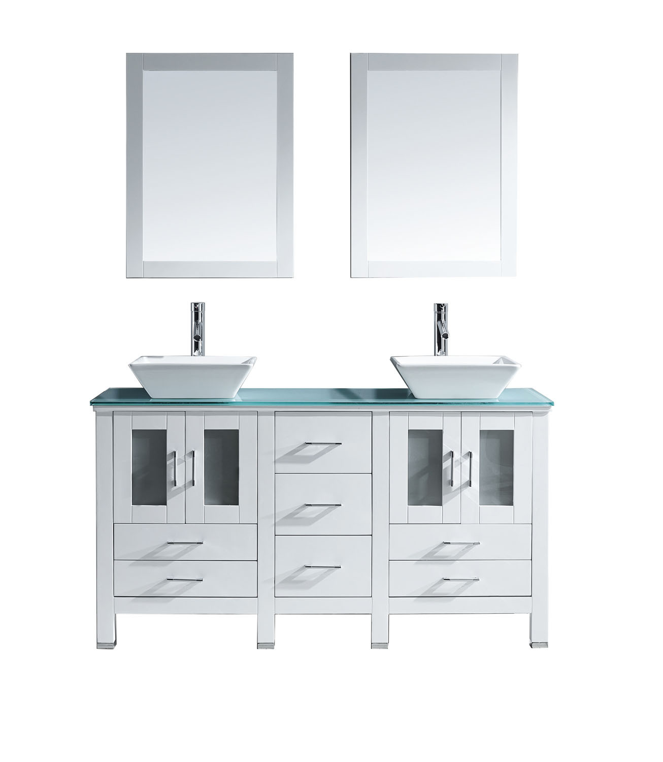 Virtu MD-4305-G-WH Bradford 60 Inch Double Bathroom Vanity Set In White With Tempered Glass Top