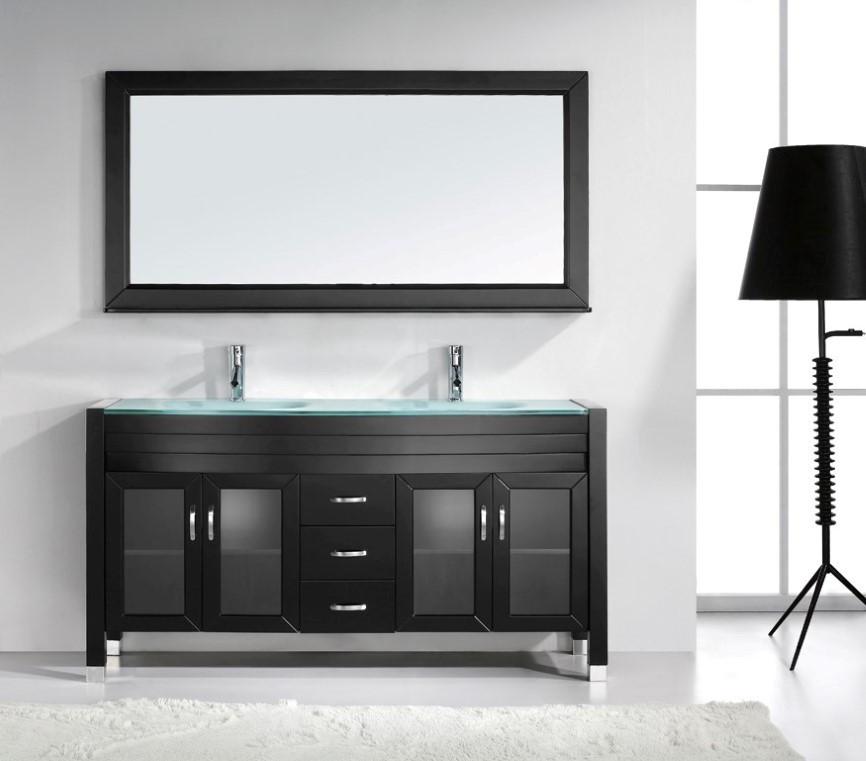 Virtu MD-499-G-ES-001 Bathroom Vanity with Tempered Glass Countertop
