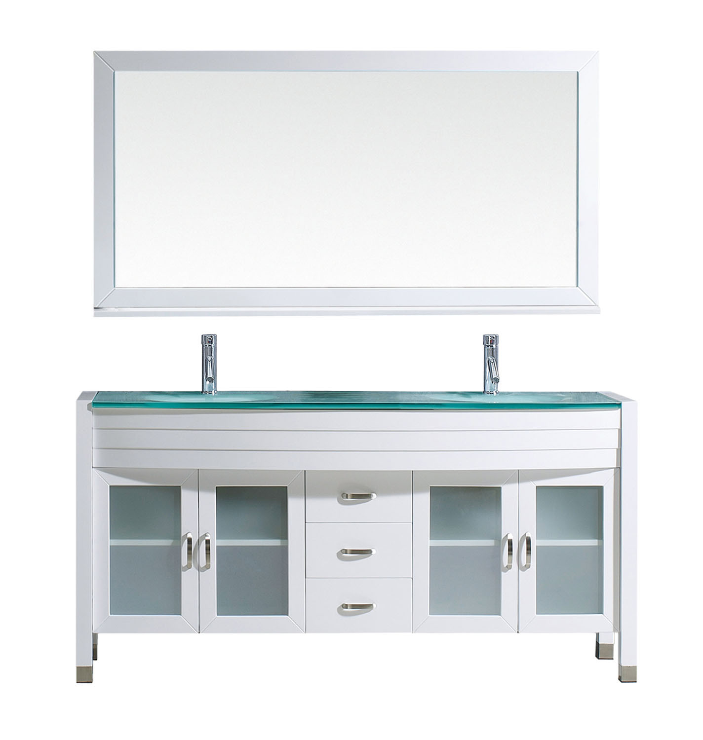 Virtu MD-499-G-WH-001 Ava 63 Inch Double Bathroom Vanity Set In White With Tempered Glass Top