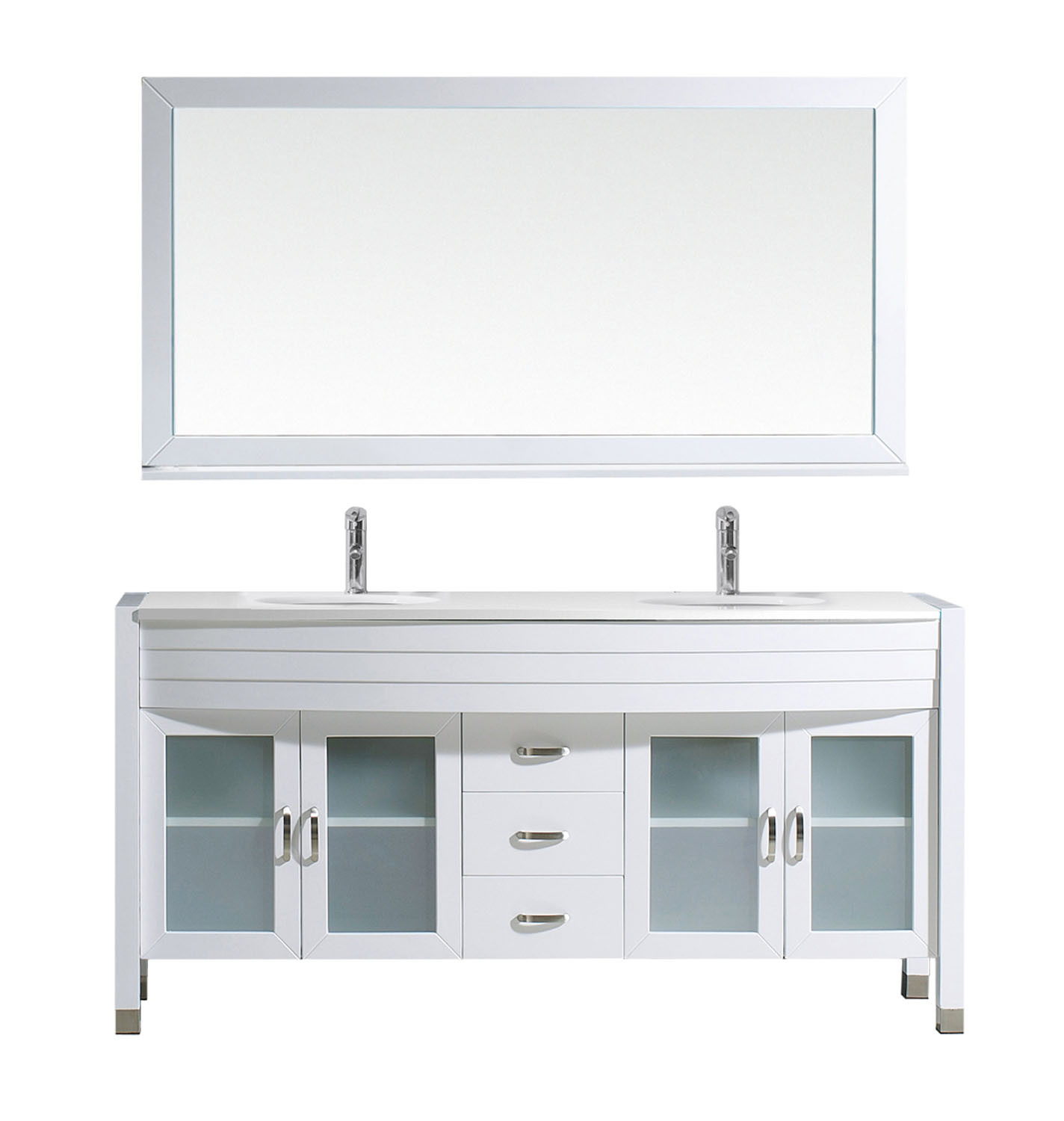 Virtu MD-499-S-WH Ava 63 Inch Double Bathroom Vanity Set In White With Engineered Stone Top