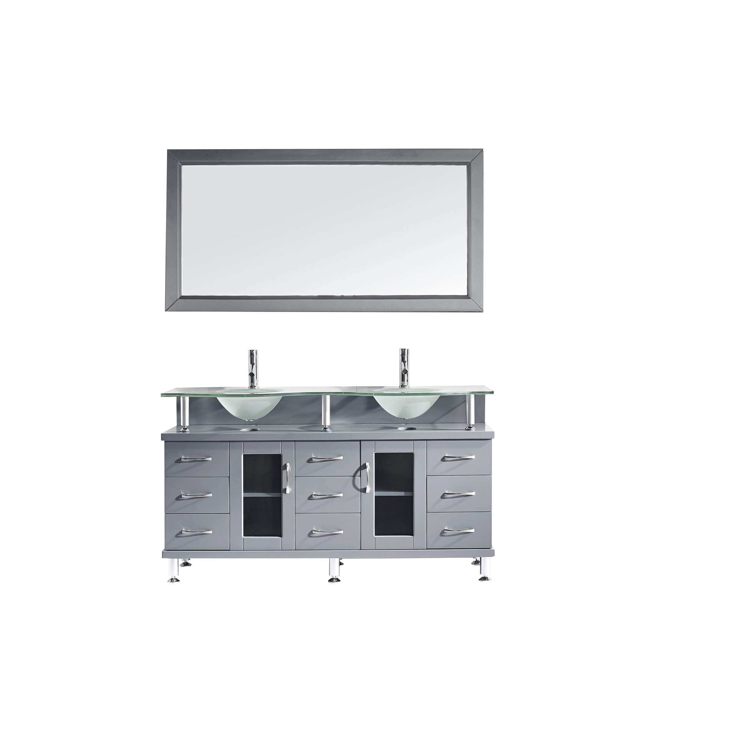 Virtu MD-61-FG-GR Vincente Rocco 59 Inch Double Bathroom Vanity Set In Grey With Frosted Glass Top