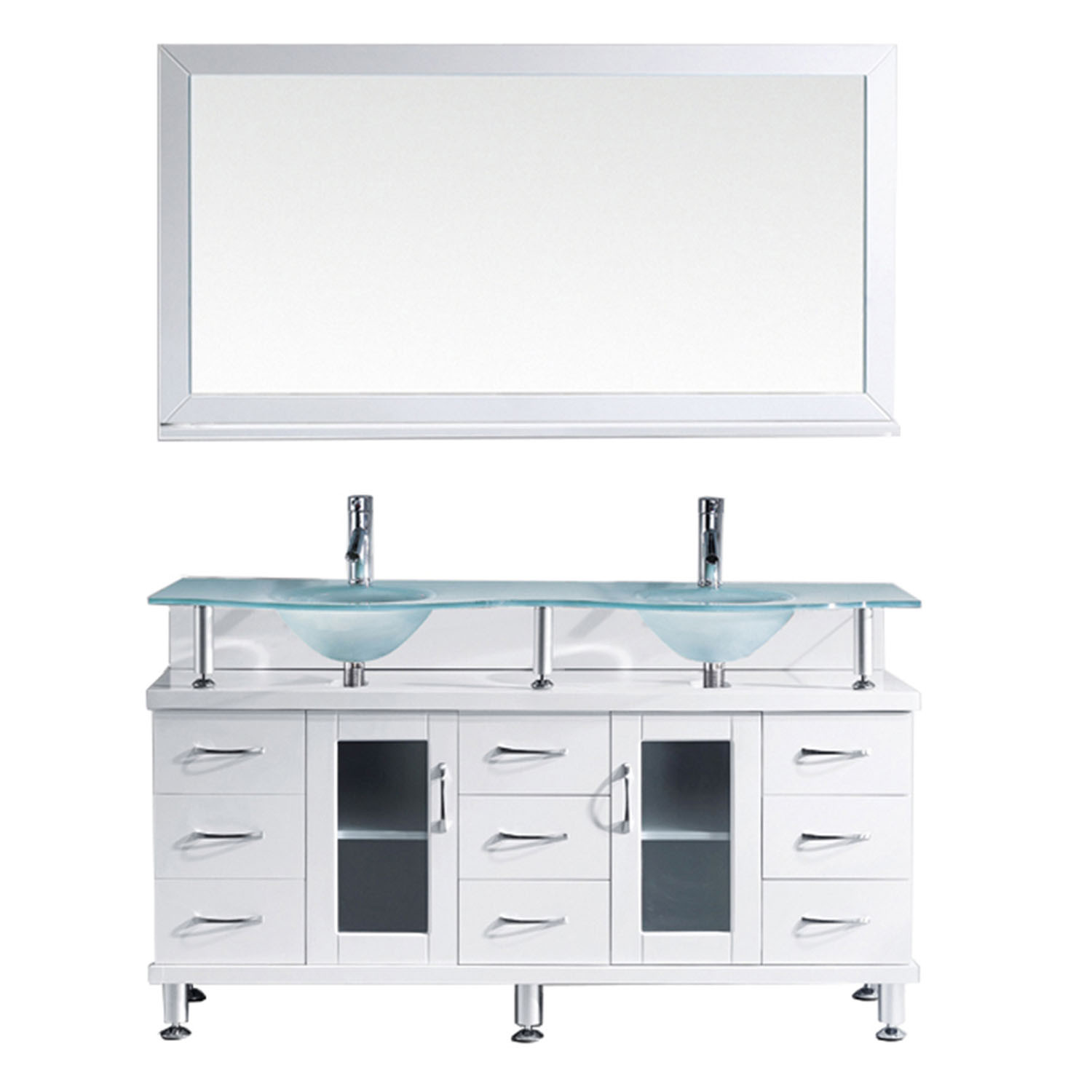 Virtu MD-61-FG-WH-001 Vincente Rocco 59 Inch Double Bathroom Vanity Set In White
