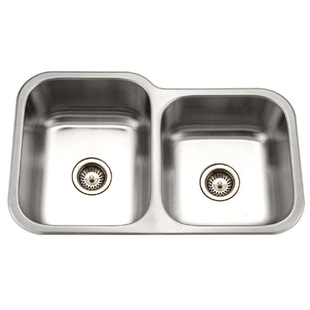 Houzer MEC-3220SR-1 Undermount Stainless Steel 60/40 Double Bowl Kitchen Sink - Small Bowl Right