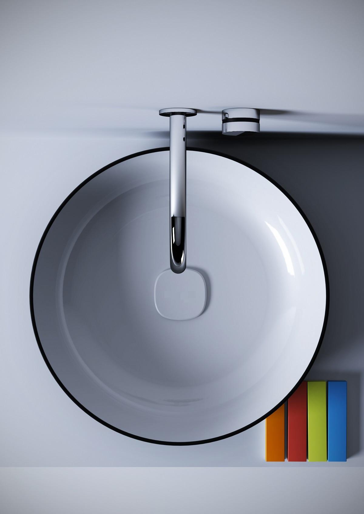 Aquatica Metamorfosi-R-Blck-Wht Round Vessel Sink In Black & White Color