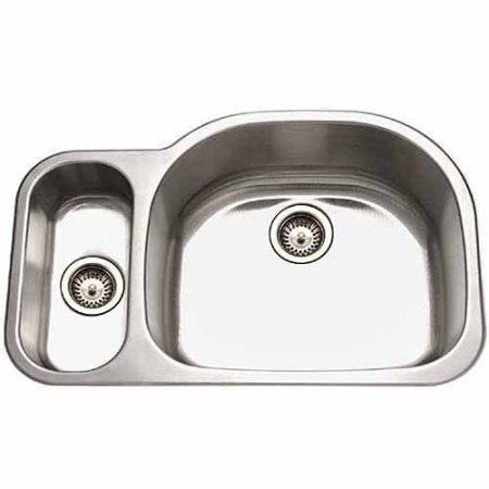 Houzer MG-3209SL-1 Undermount Stainless Steel 70/30 Double Bowl Kitchen Sink -Small Bowl Left