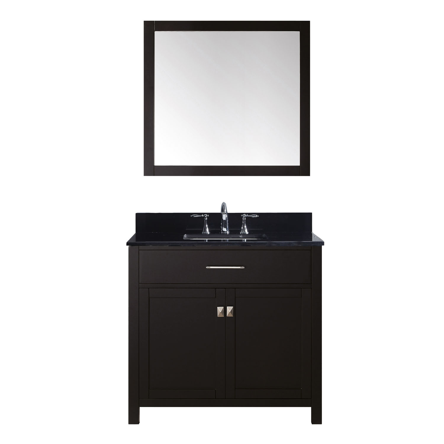 Virtu MS-2036-BGSQ-ES Caroline 36 Inch Single Bathroom Vanity Set In Espresso