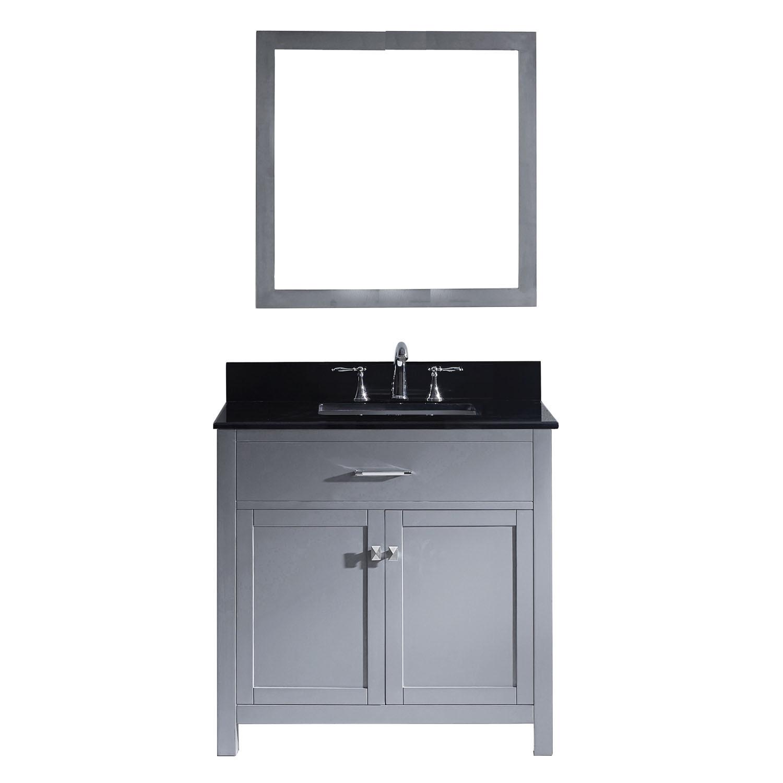 Virtu MS-2036-BGSQ-GR-001 Caroline 36 Inch Single Bathroom Vanity Set In Grey