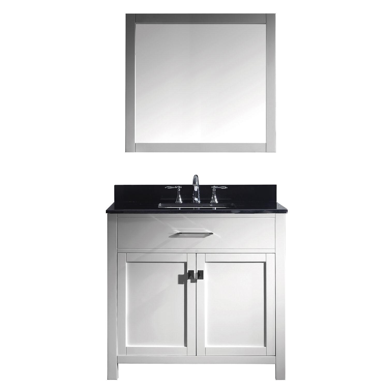 Virtu MS-2036-BGSQ-WH-002 Caroline 36 Inch Single Bathroom Vanity Set In White