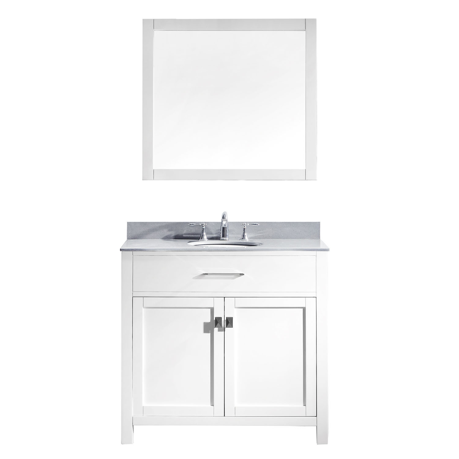 Virtu MS-2036-GQRO-WH Caroline 36 Inch Single Bathroom Vanity Set In White