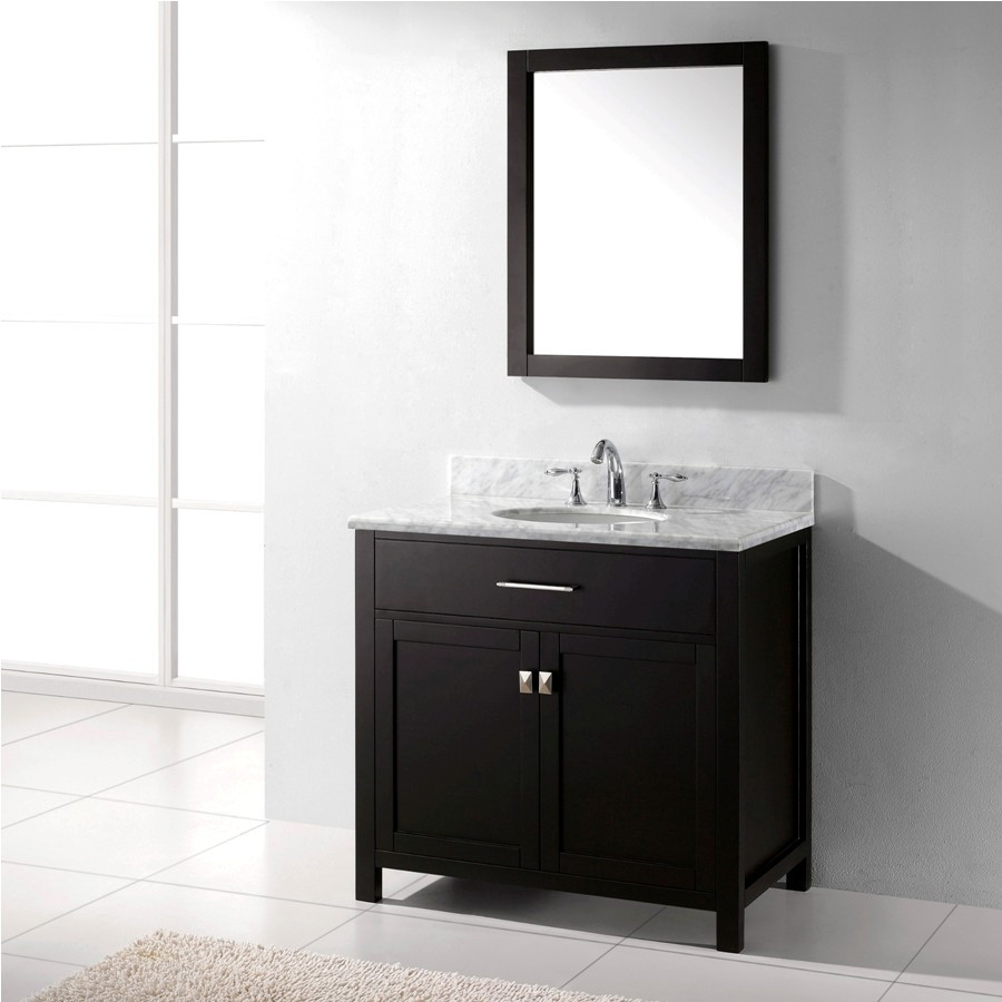 Virtu MS-2036-WMRO-ES-002 Bath Vanity in Espresso with Carrara Marble