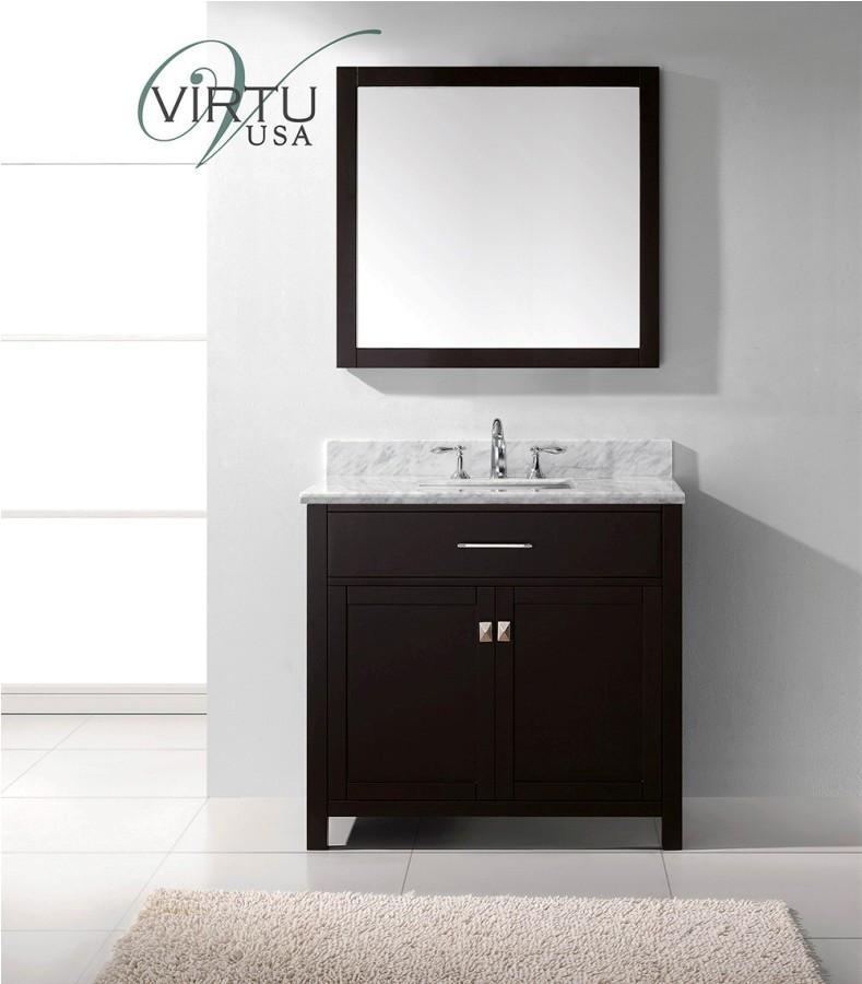 Virtu MS-2036-WMSQ-ES-002 Bath Vanity in Espresso with Carrara Marble