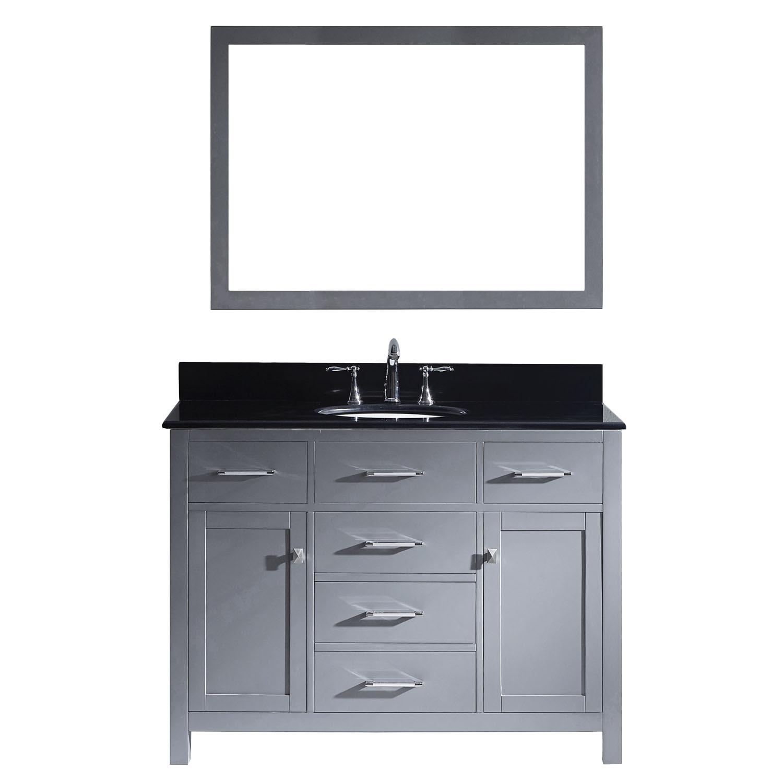 Virtu MS-2048-BGRO-GR Caroline 48 Inch Single Bathroom Vanity Set In Grey