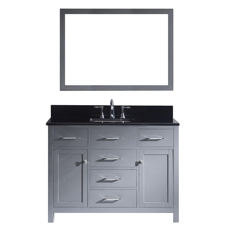 Virtu MS-2048-BGSQ-GR-002 Caroline 48 Inch Single Bathroom Vanity Set In Grey