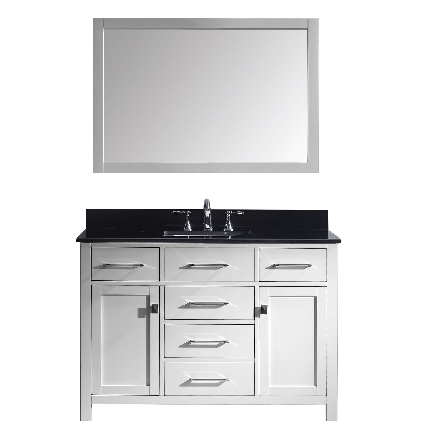 Virtu MS-2048-BGSQ-WH-001 Caroline 48 Inch Single Bathroom Vanity Set In White