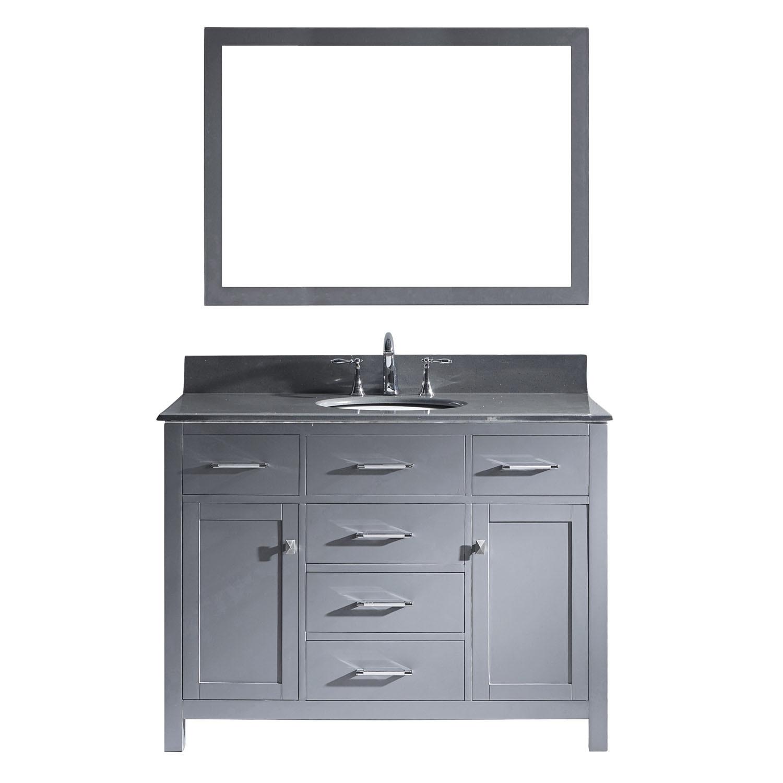Virtu MS-2048-GQRO-GR-002 Caroline 48 Inch Single Bathroom Vanity Set In Grey