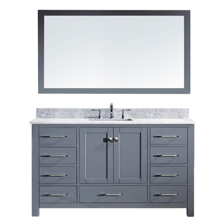 Virtu MS-2060-WMSQ-GR Caroline 60 Inch Single Bathroom Vanity Set In Grey