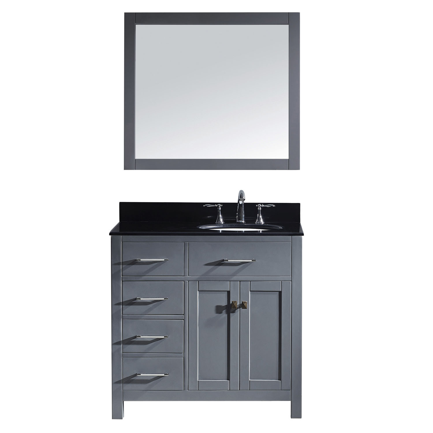Virtu MS-2136L-BGRO-GR-002 Caroline Parkway 36 Inch Single Bathroom Vanity Set In Grey