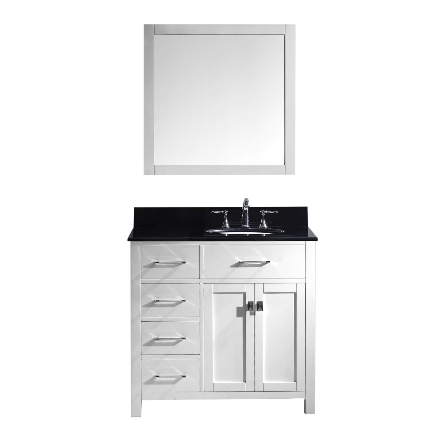 Virtu MS-2136L-BGRO-WH-001 Caroline Parkway 36 Inch Single Bathroom Vanity Set In White