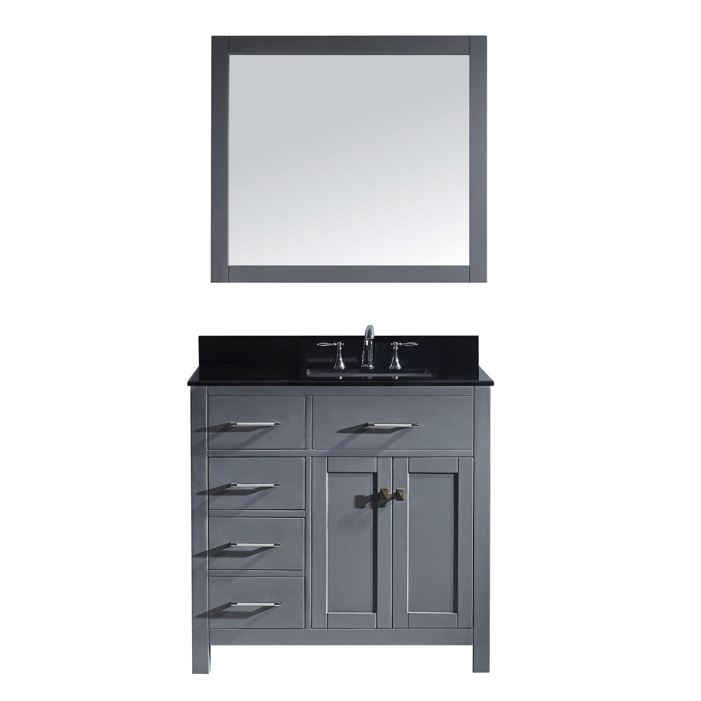 Virtu MS-2136L-BGSQ-GR Caroline Parkway 36 Inch Single Bathroom Vanity Set In Grey