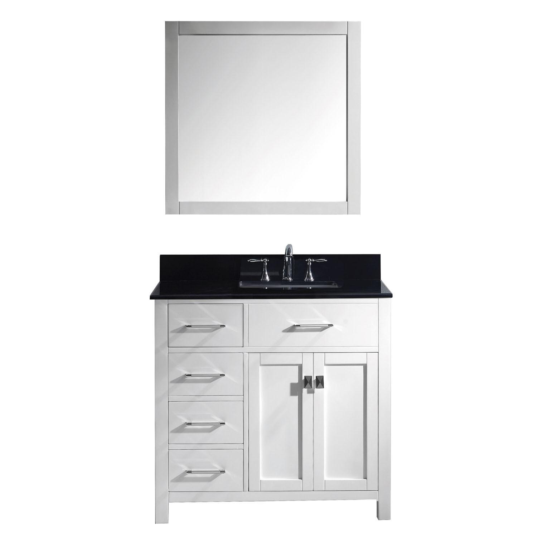 Virtu MS-2136L-BGSQ-WH-001 Caroline Parkway 36 Inch Single Bathroom Vanity Set In White