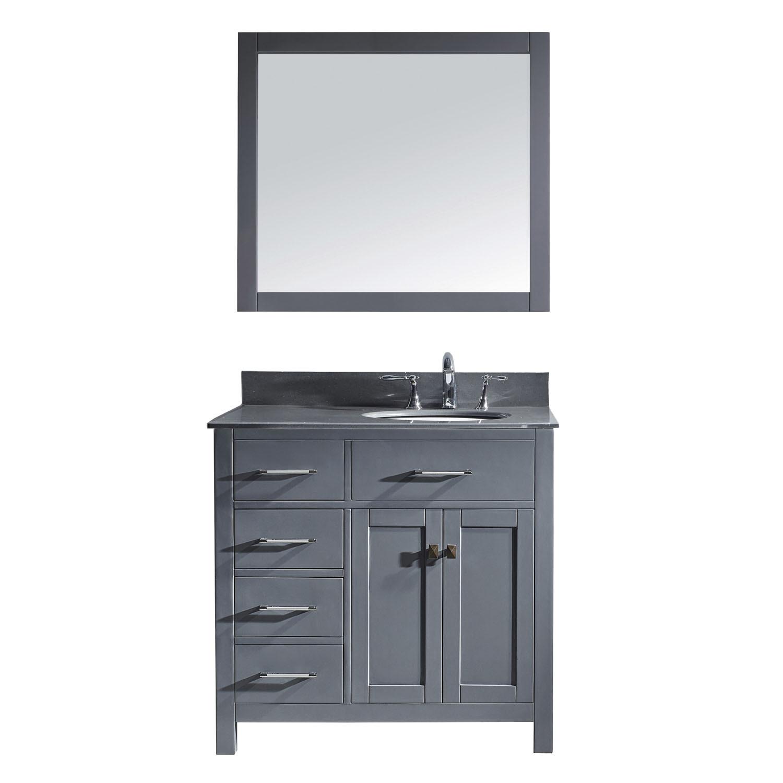 Virtu MS-2136L-GQRO-GR-001 Caroline Parkway 36 Inch Single Bathroom Vanity Set In Grey