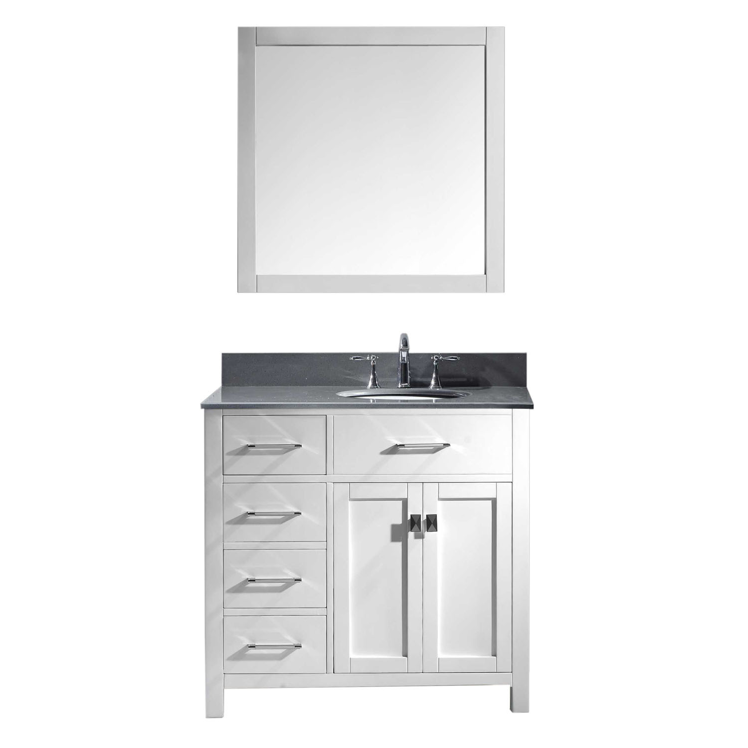 Virtu MS-2136L-GQRO-WH-002 Caroline Parkway 36 Inch Single Bathroom Vanity Set In White