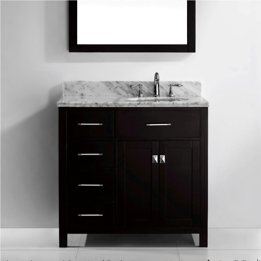 """Virtu MS-2136L-WMRO-ES-002 36"""" Espresso Round Sink Bath Vanity - Left"""