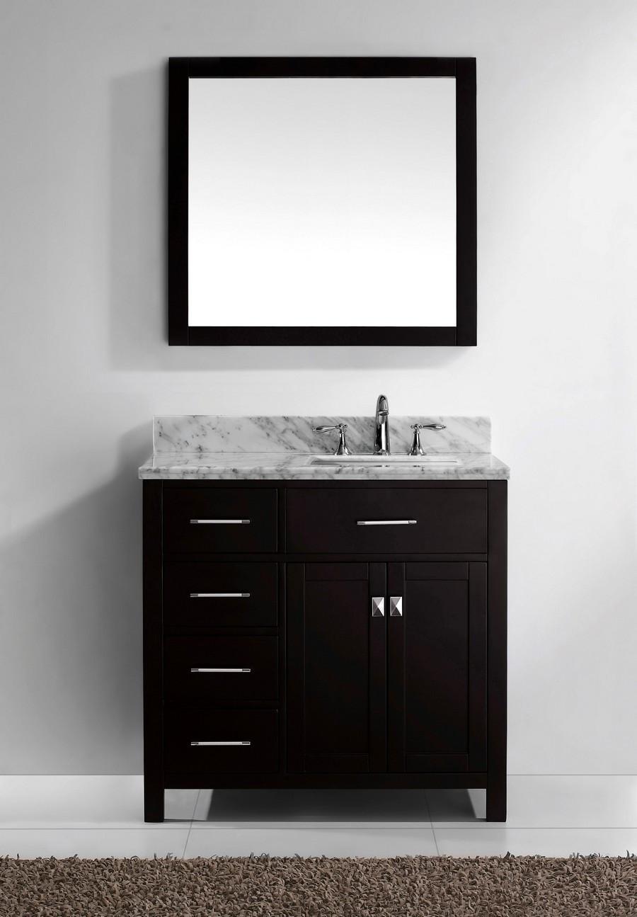 """Virtu MS-2136L-WMSQ-ES-002 36"""" Espresso Round Sink Bath Vanity - Left"""