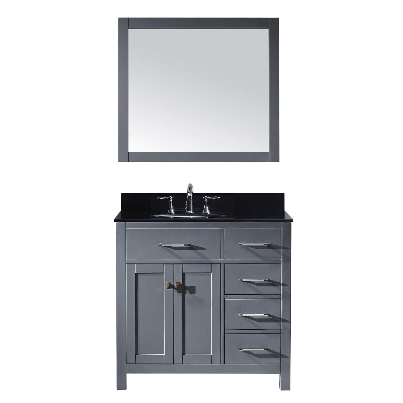 Virtu MS-2136R-BGRO-GR-002 Caroline Parkway 36 Inch Single Bathroom Vanity Set In Grey